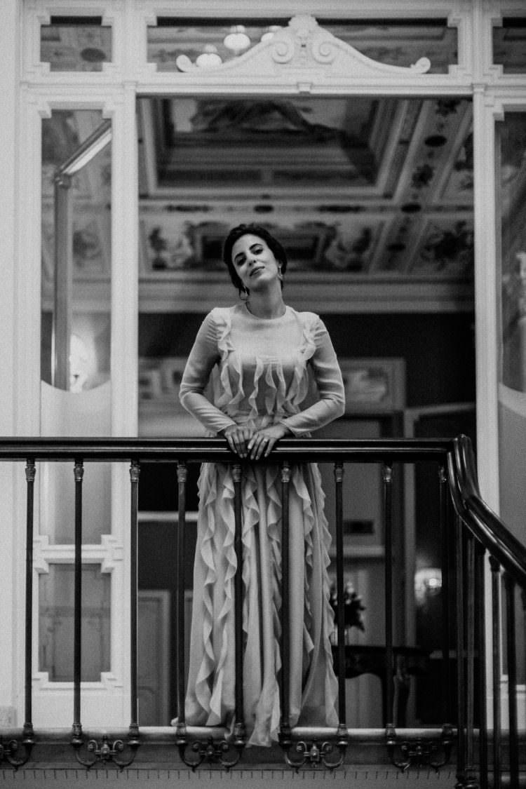 Portrait of the bride in Valentino Dress