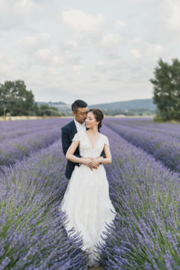 couple engagement in lavender field
